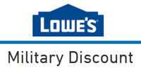 Lowe's offers a 10% military discount to support the men and women who are currently serving our country in the Armed Services. More Info» The 10% discount is also good for retired veterans and VA recipients as well as immediate family of those who are currently serving, retired .